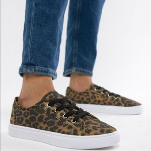 ASOS | Wide Fit Daisy Leopard Print Sneakers 5.5